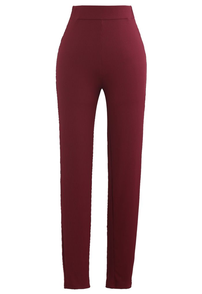 Fitted Zipper Front Top and Skinny Pants Set in Wine