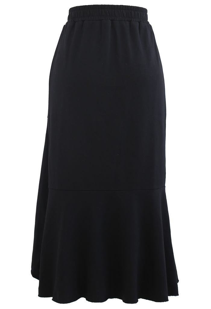 Asymmetric Frilling Sweat Skirt in Black