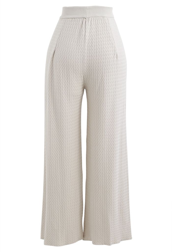 Wavy Textured Knit Pants in Ivory