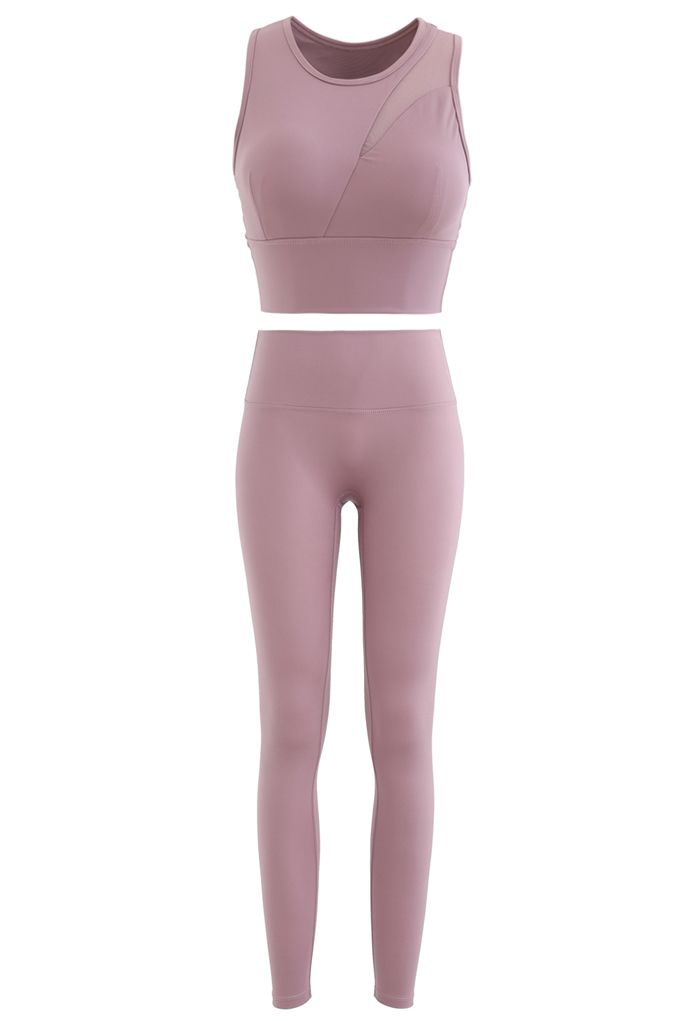 Mesh-Inset Medium-Impact Sports Bra and Leggings Set in Dusty Pink