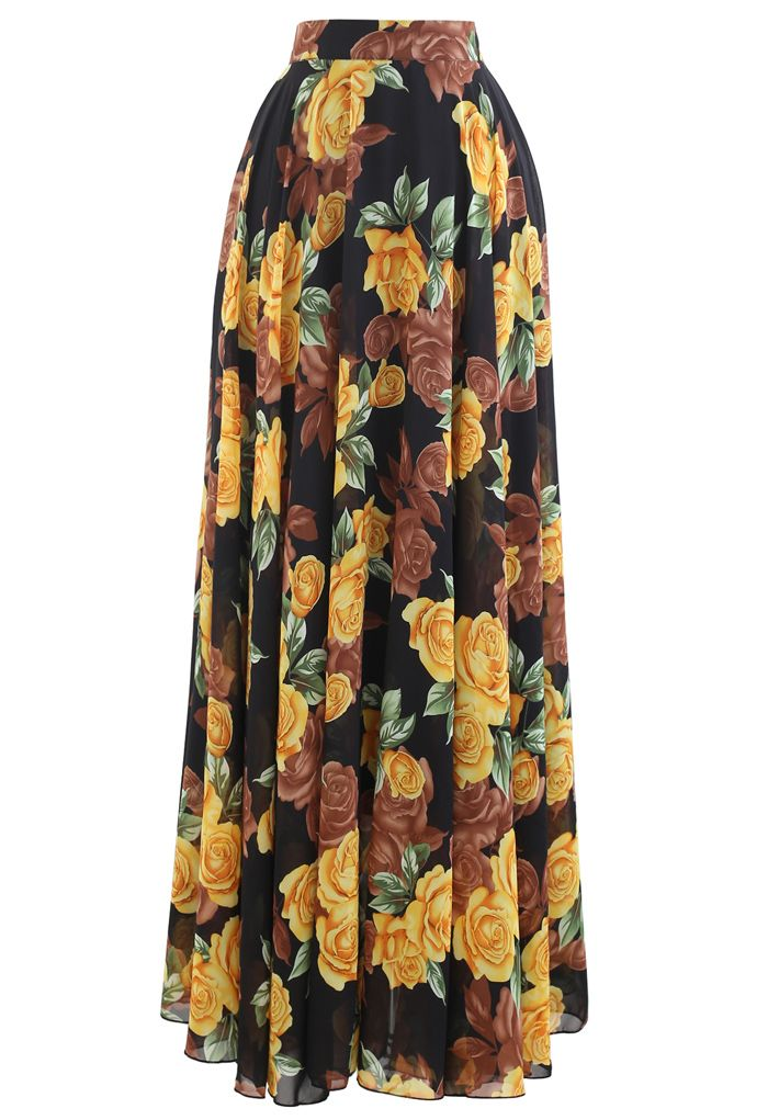 Timeless Favorite Chiffon Maxi Skirt in Yellow Rose