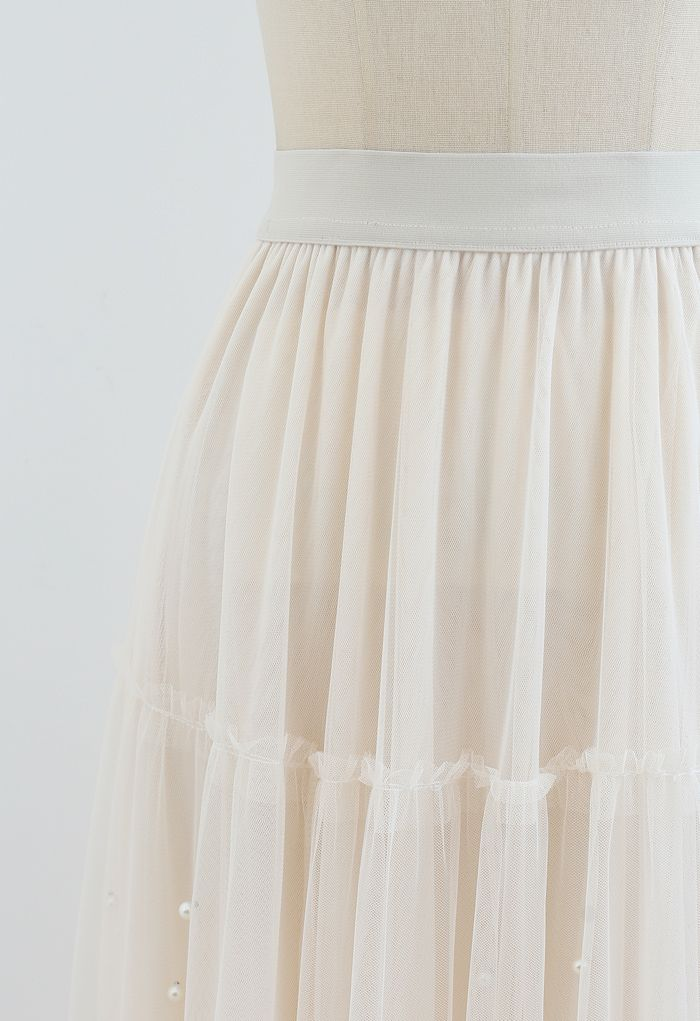 Beads Trim Double-Layered Tulle Mesh Skirt in Cream