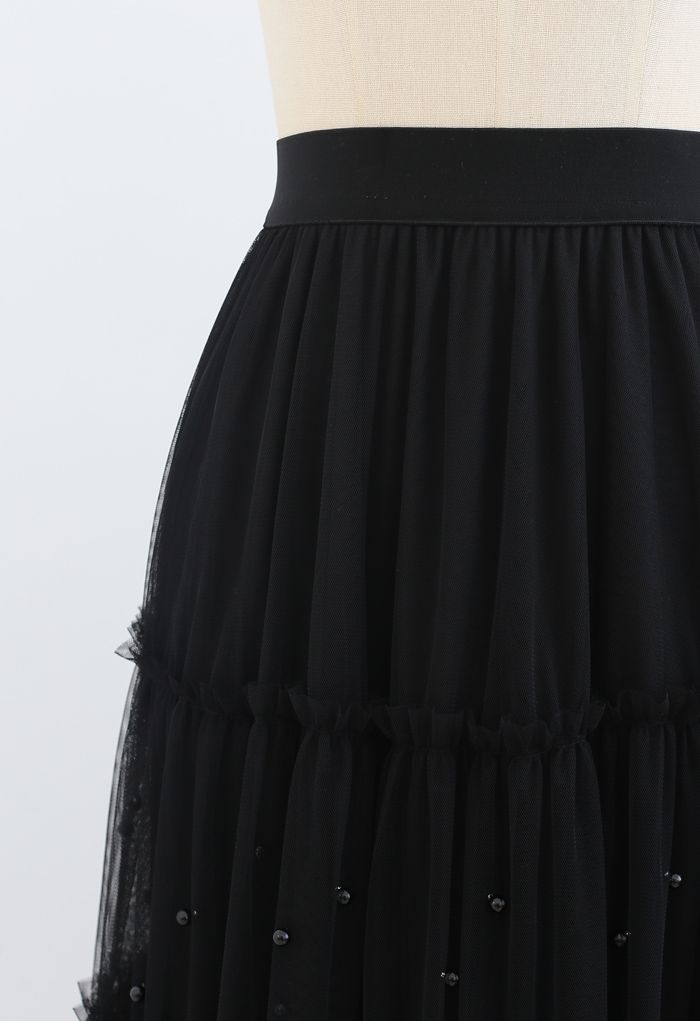 Beads Trim Double-Layered Tulle Mesh Skirt in Black