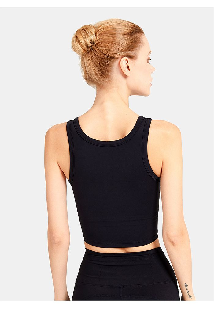 V-Neck Low-Impact Sports Bra in Black