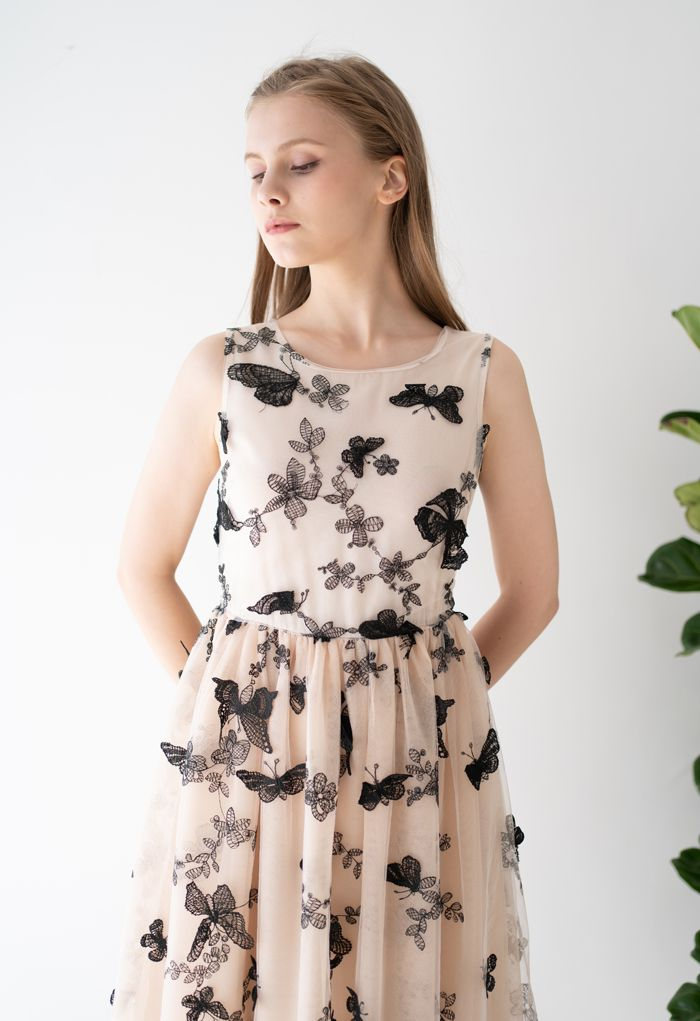 Dancing Butterfly Double-Layered Sleeveless Mesh Dress