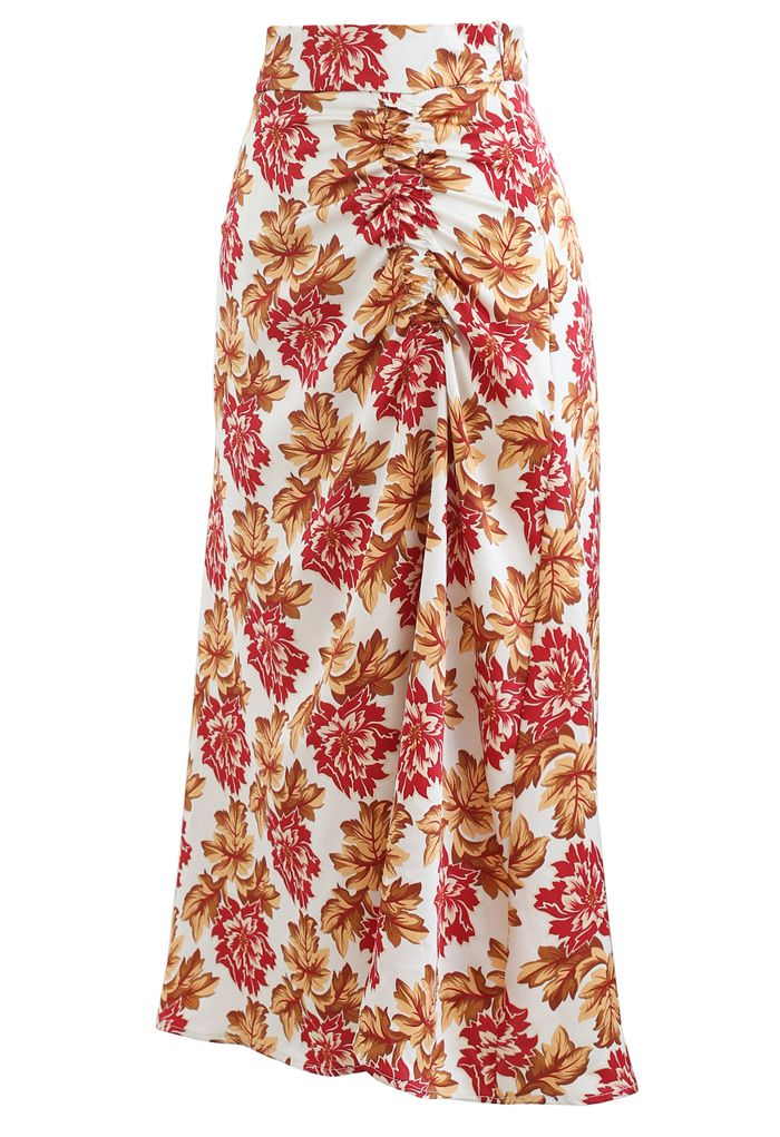 Red Floral Print Ruched Side Slip Skirt