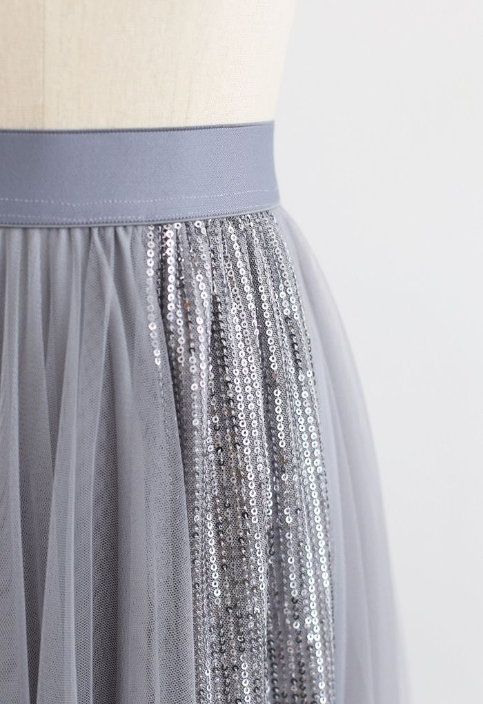 Shimmer Sequin Panelled Tulle Maxi Skirt in Grey
