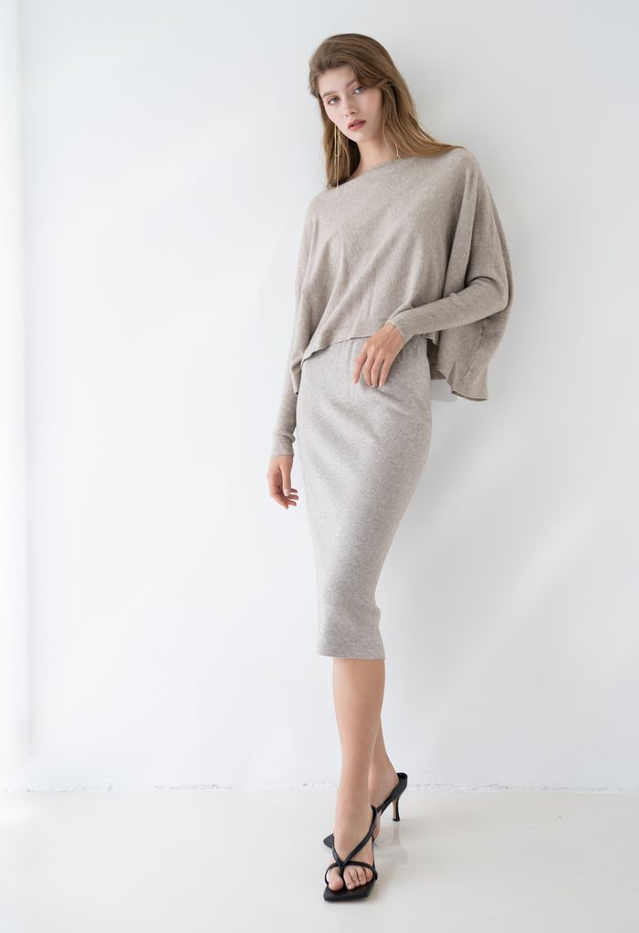 High Waist Ribbed Knit Pencil Skirt in Sand