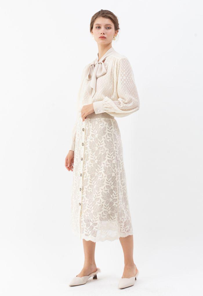 Spots Jacquard Chiffon Shirt in Cream