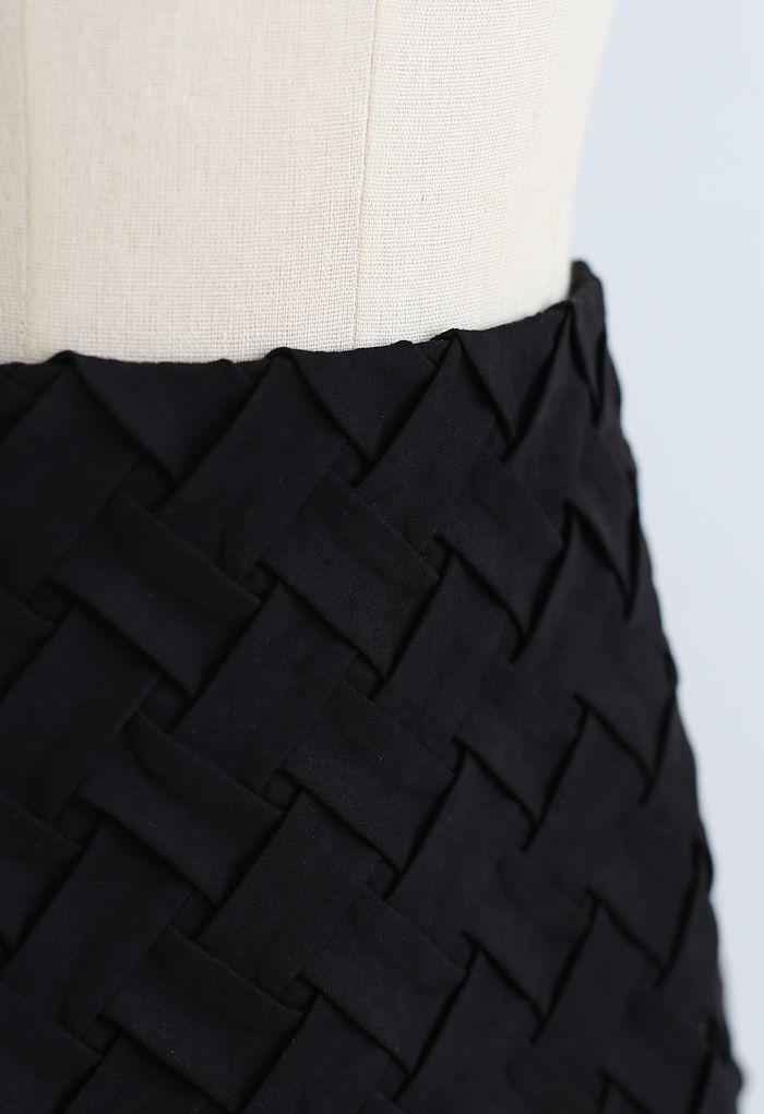 Crisscross Suede Bud Skirt in Black
