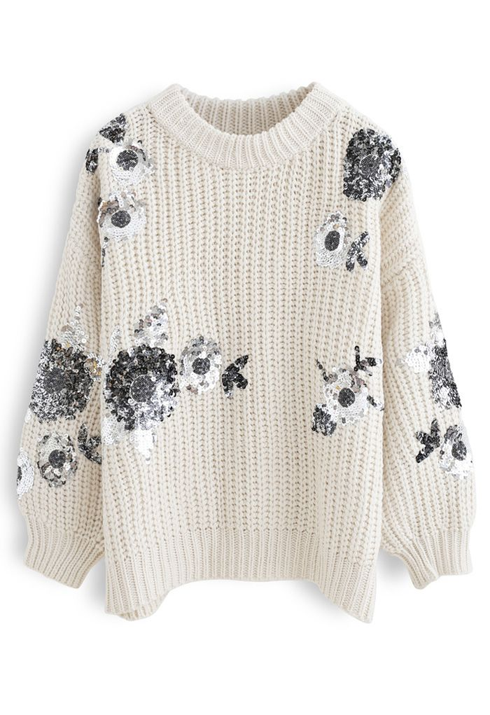 Sequin Floral Ribbed Chunky Knit Sweater in Ivory