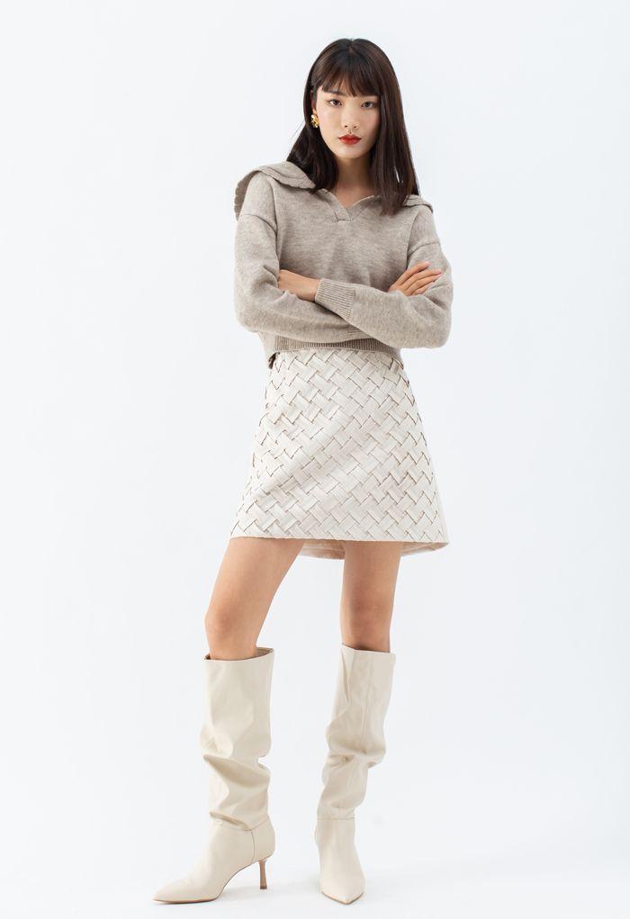 Crisscross Suede Bud Skirt in Ivory