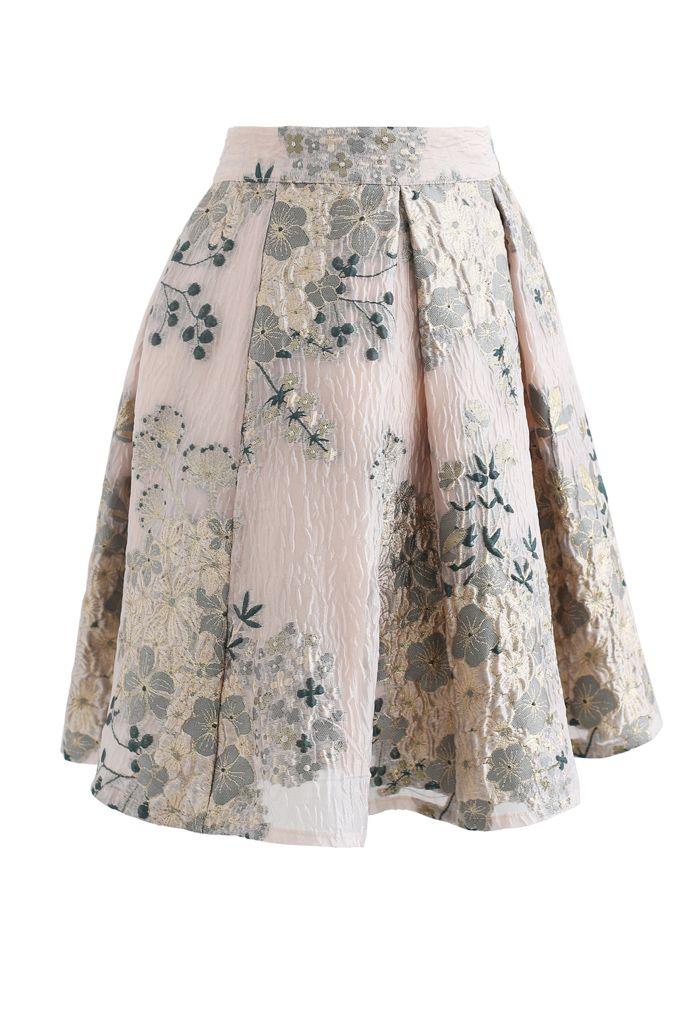 Golden Camellia Jacquard Embossed Pleated Mini Skirt