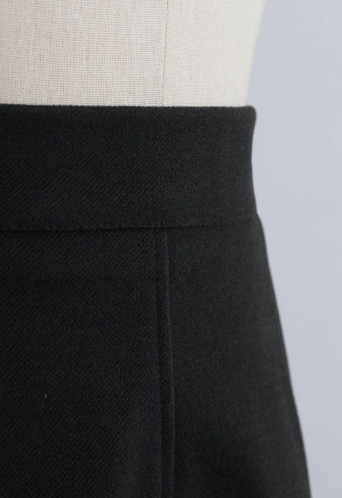 Solid Color Wool-Blend Midi Skirt in Black