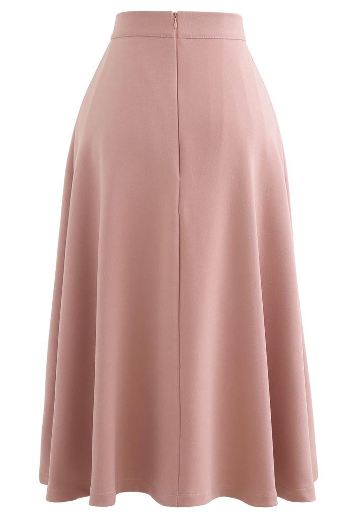 Pleated Flare Midi Skirt in Light Pink
