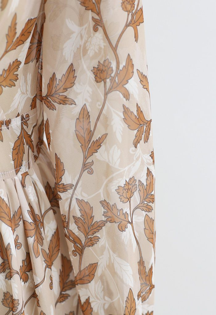 Fall Leaves Printed Wrapped Maxi Dress