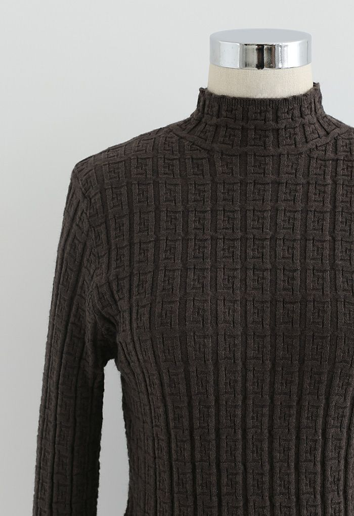 Maze Embossed High Neck Fitted Knit Top in Brown