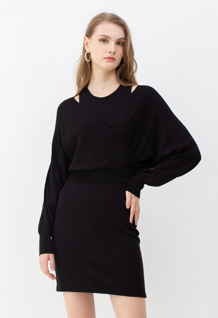 Crop Wrapped Top and Sleeveless Knit Twinset Dress in Black