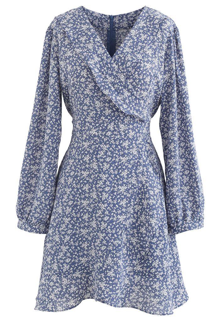 Tiny Floral Tie Waist Asymmetric Dress in Blue