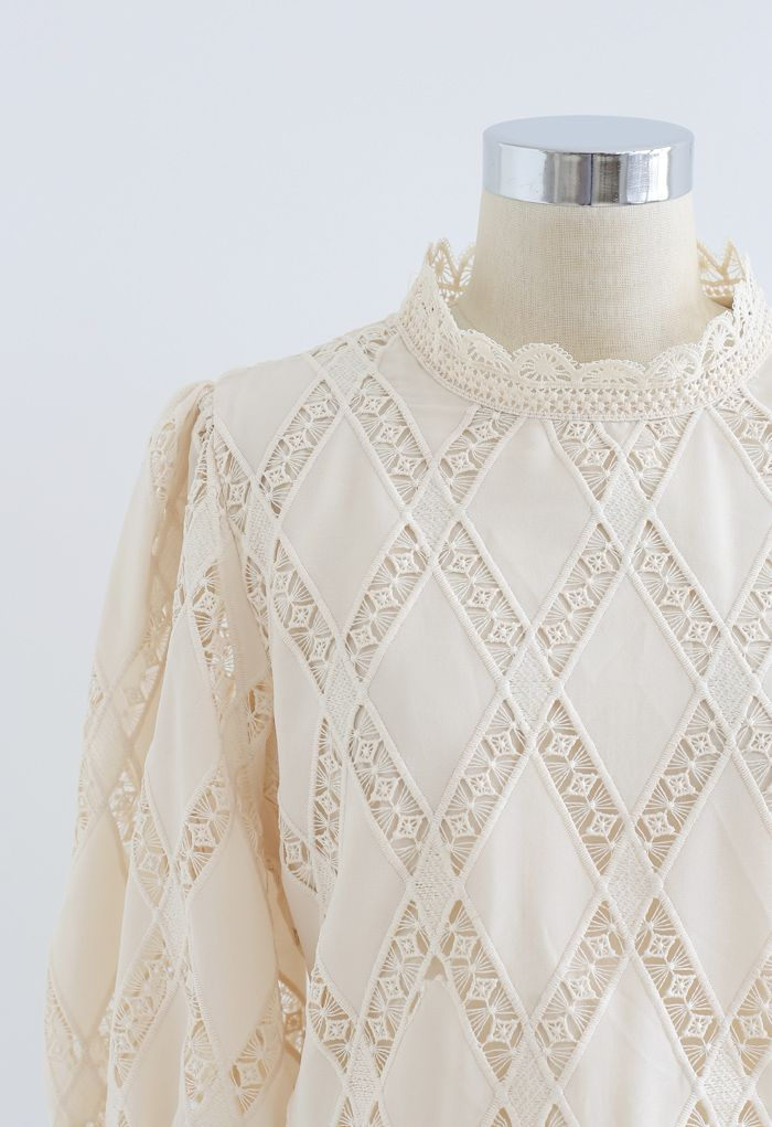 Crochet Inserted Puff Sleeves Crop Top in Cream