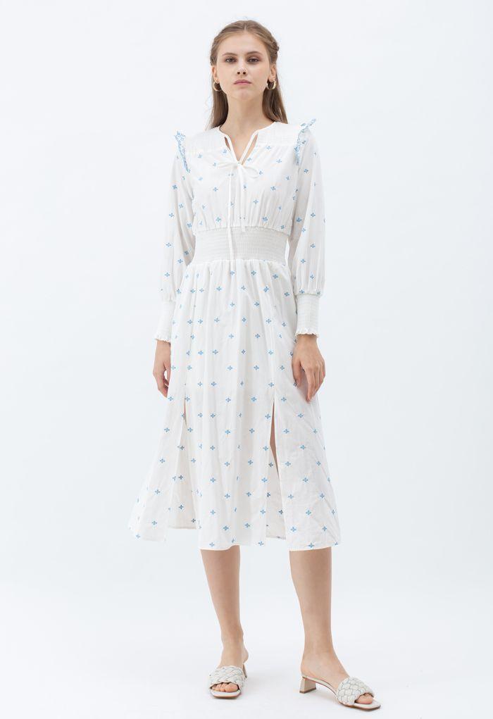 Embroidered V-Neck Shirred Slit Dress