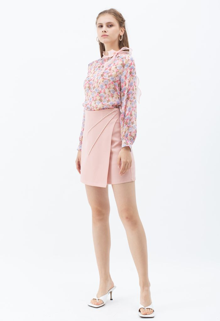 Pearls Embellished Flap Mini Skirt in Pink