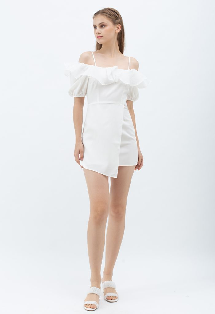 Organza Neck Cold-Shoulder Flap Dress