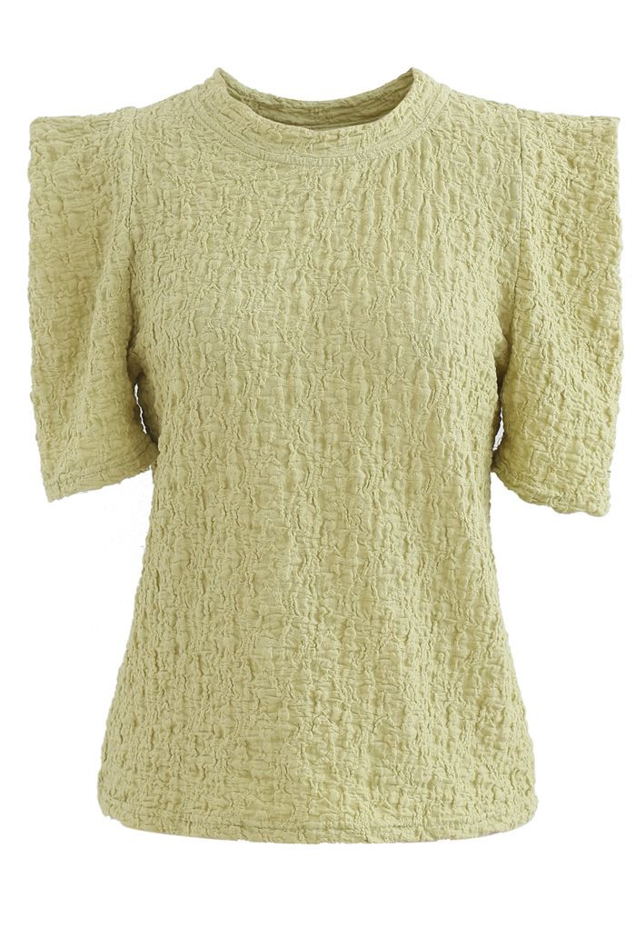 Embossed Folded Short Sleeve Top in Moss Green