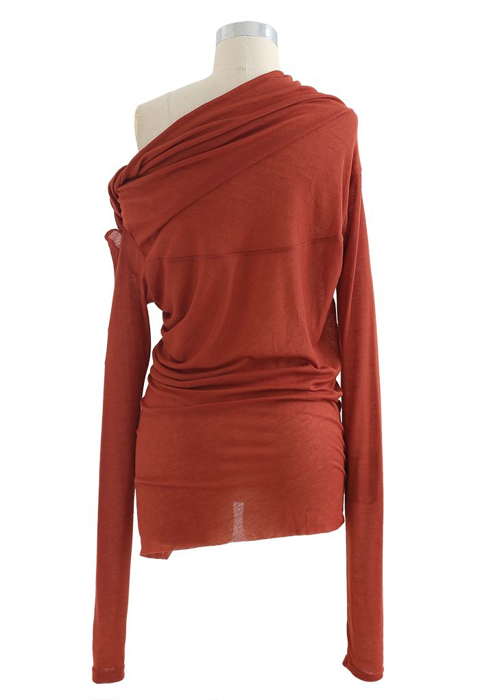 Oblique Shoulder Long Sleeve Asymmetric Top
