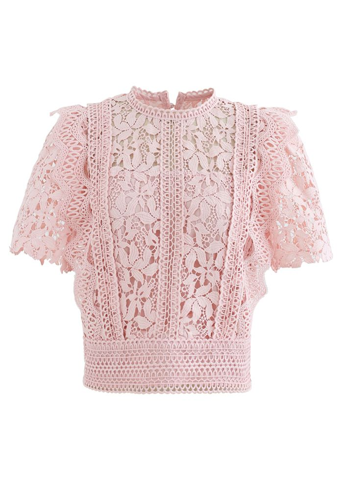Lush Leaves Crochet Top in Pink