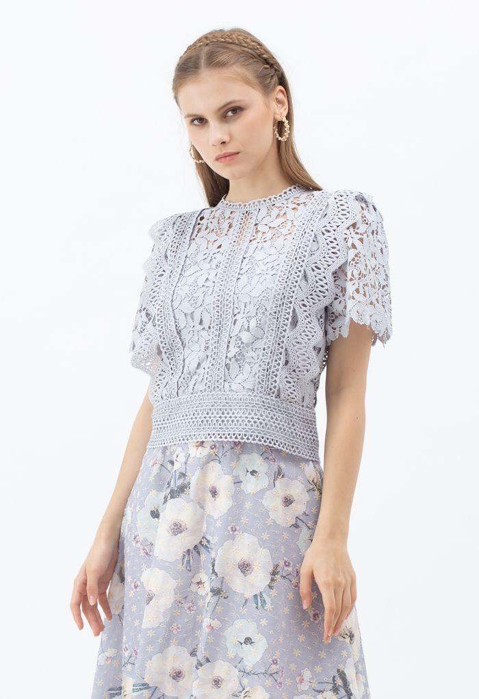 Lush Leaves Crochet Top in Lavender