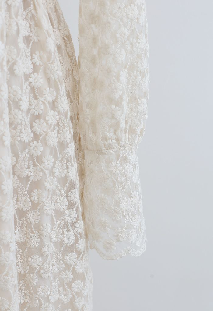 Full of Daisy Embroidered Ruffle Mesh Midi Dress in Ivory