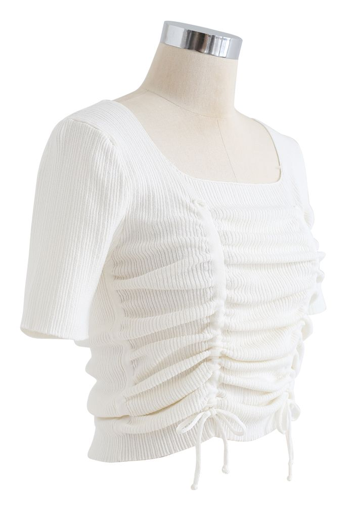 Ruched Drawstring Square Neck Knit Top in White