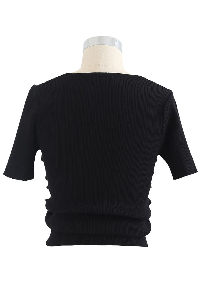 Ruched Drawstring Square Neck Knit Top in Black
