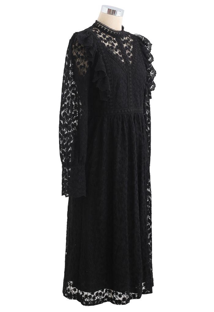 Full of Daisy Embroidered Ruffle Mesh Midi Dress in Black