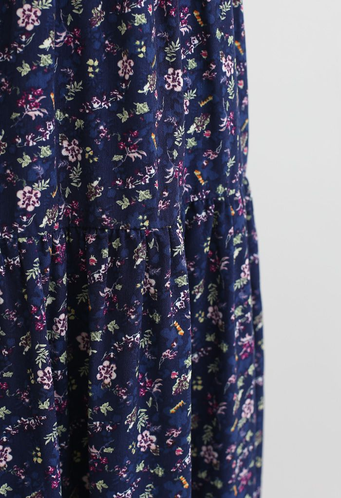 Plunging V-Neck Floret Ruffle Cami Dress in Navy