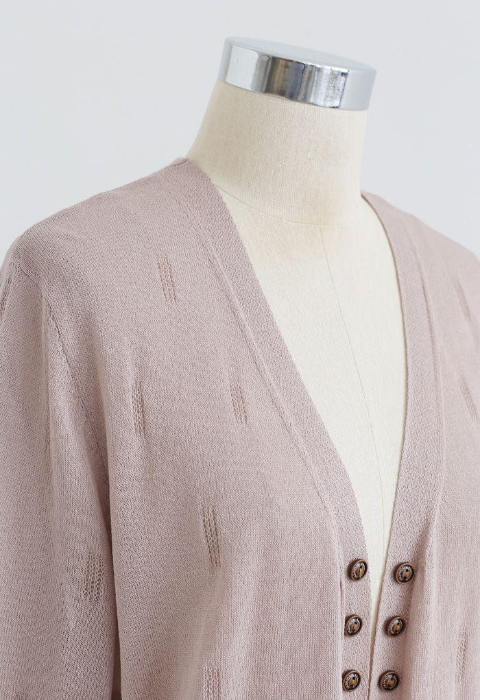 Lightsome Button Slit Hem Longline Cardigan in Dusty Pink