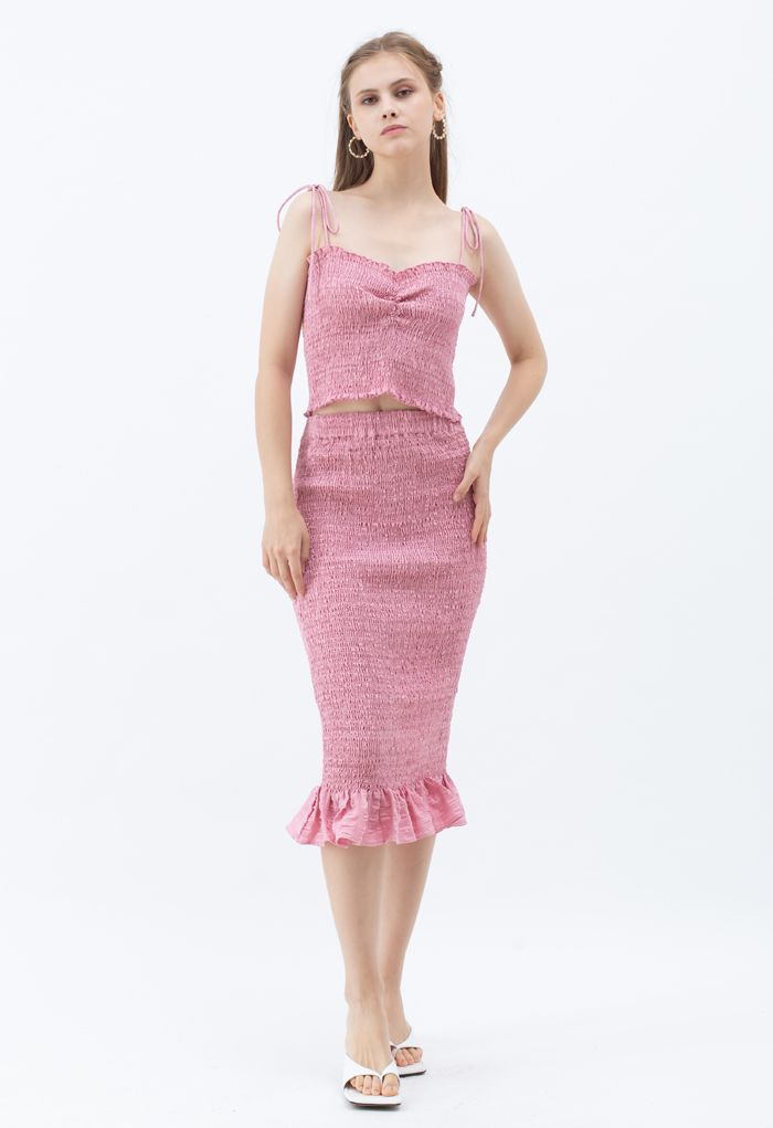 Frill Hem Full Shirring Pencil Skirt in Pink