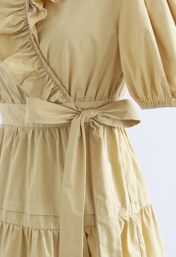 Short Sleeves Wrap Tied Ruffle Dress in Mustard