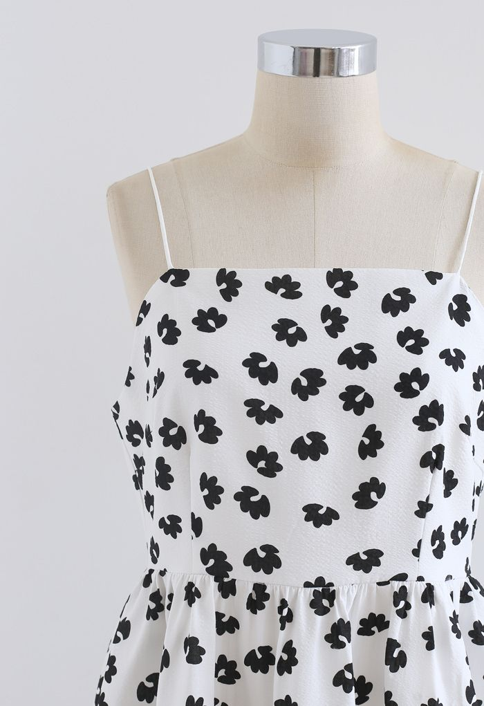 Embossed Floral Print Cami Dress in White