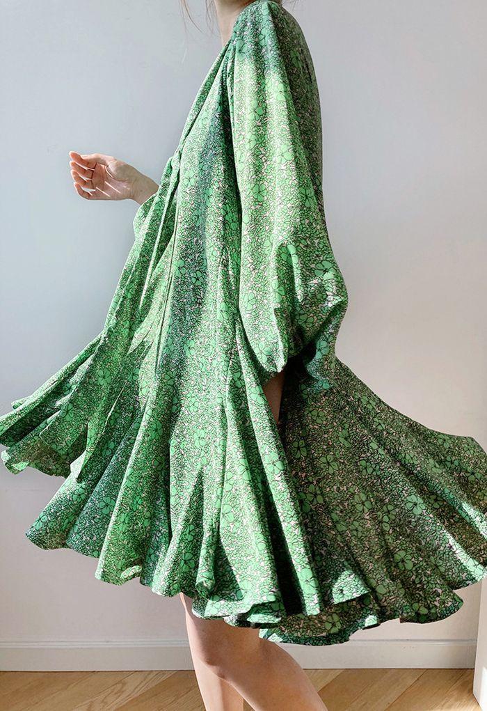 Green Floret Bubble Sleeves Frilling Dress