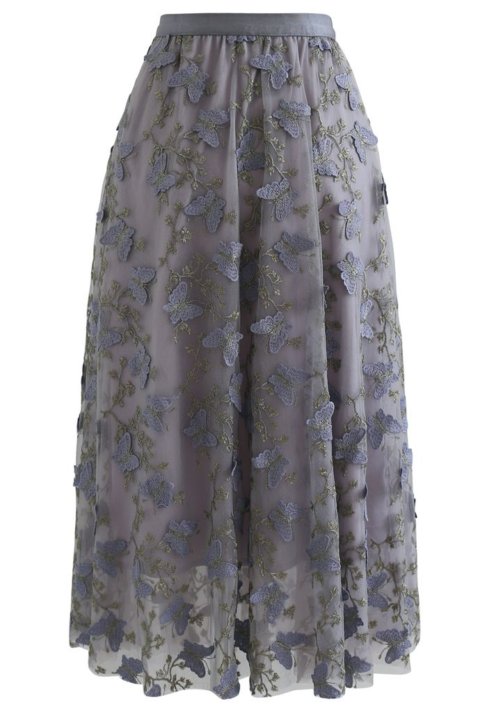 3D Butterfly Embroidered Double Layered Tulle Skirt in Grey