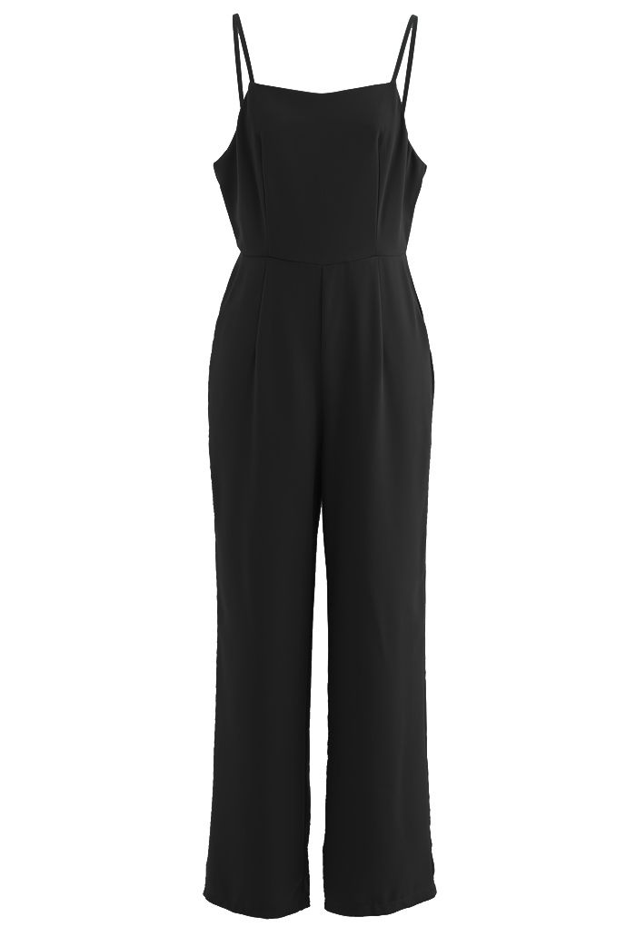 Open Back Straight Leg Cami Jumpsuit in Black