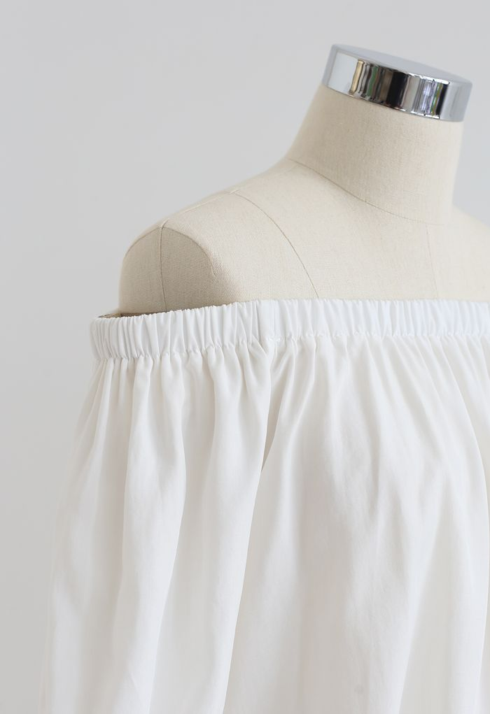 Off-Shoulder Cropped Top and Pants Set in White