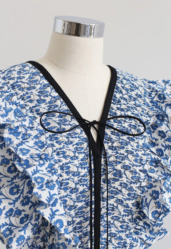 Indigo Ruffle V-Neck Flare Dress