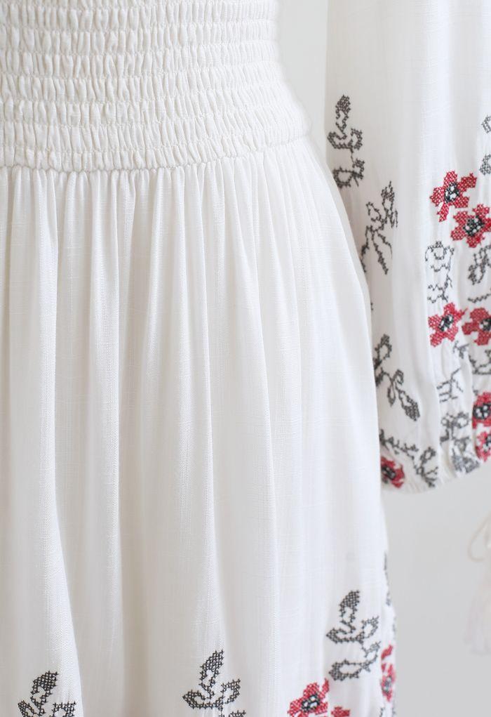 Floral Embroidered Tassel Boho Dress