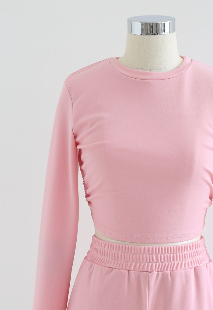 Cutout Tie Back Crop Top and Shorts Set in Pink