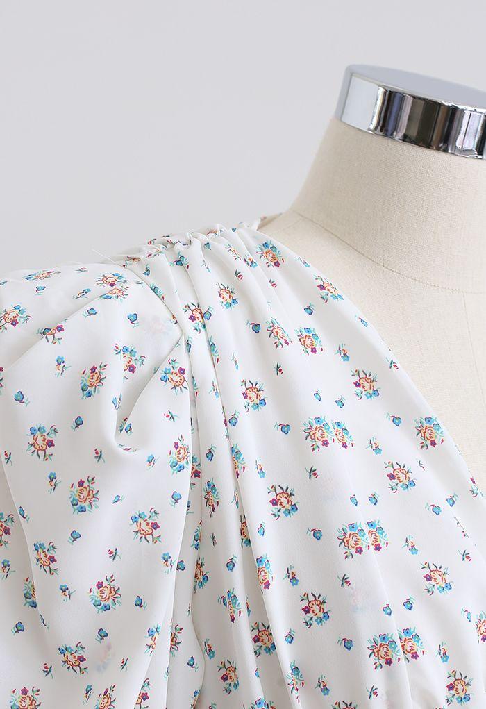 Pad Shoulder Floral V-Neck Puff Sleeve Dress in White