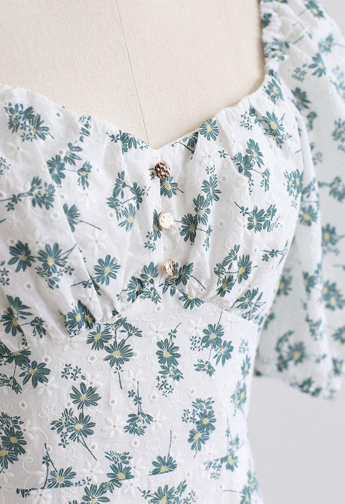 Flowery Sweetheart Neck Eyelet Mini Dress in Green