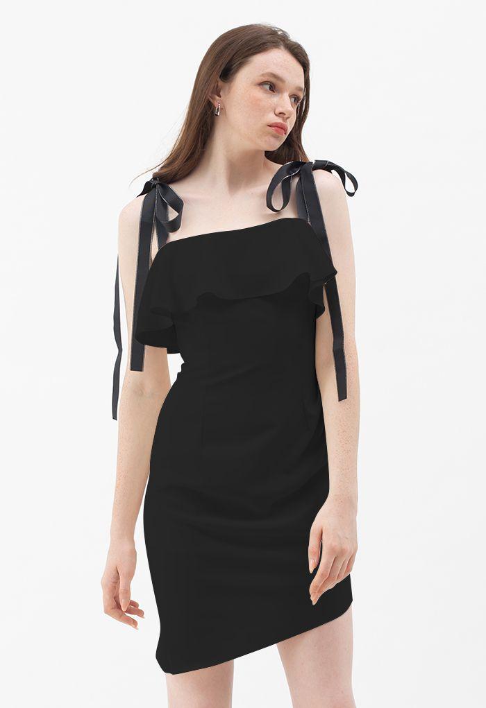 Tie Shoulder Frilling Ruched Mini Dress in Black